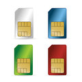 Set of color sim cards isolated on white background Stock Image