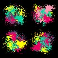 stock image of  Set of color ink paint spots