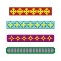 Set of color strips for cards, ornament with bright shapes and repetitive pattern