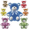 Set of color teddy bear with bows Stock Images