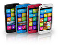 Set of color touchscreen smartphones Royalty Free Stock Images
