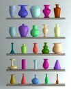 Set of color vase Stock Photography