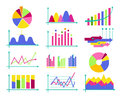 Set of color vector flat design business data market elements ba Royalty Free Stock Photo