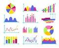 Set of color vector flat design business data market elements ba