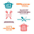 Set of color vintage retro handmade badges, labels and logo elements, retro symbols for bakery shop, cooking club, food