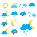 Set of color weather symbols sign icon illustration Royalty Free Stock Photos
