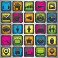 Set of color web icons background Stock Image