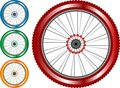 Set of colored bike wheel with tire spokes Stock Photo