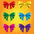 Set of colored bows. Vector image. Decorative element for decoration of holidays