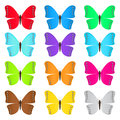 Set of colored butterflies on a white background Stock Images