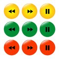 Set of colored buttons icons rewind pause.