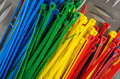 Set colored cable ties close up Stock Photography