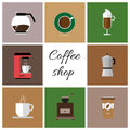 A set of colored coffee items Royalty Free Stock Photo