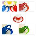 Set of colored  coffee/tea cups Stock Photos