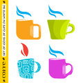 Set of colored cups for coffee and tea