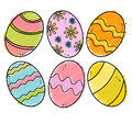 Set colored easter eggs isolated white background Stock Photography