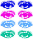 Set of colored eyes Royalty Free Stock Images