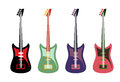 Set of colored guitars multi colored rock electric guitars Stock Photography