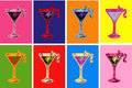 Set of Colored Hand Drawn Sketch Cosmopolitan Cocktail Drinks Vector Illustration Royalty Free Stock Photo