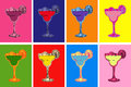 Set of Colored Hand Drawn Sketch Margarita Cocktail Drinks Vector Illustration Royalty Free Stock Photo
