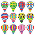Set of colored hot baloons Royalty Free Stock Photos