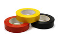 Set of colored insulating tape for the electrical on a white background Royalty Free Stock Photo