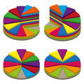 Set of colored isometric pie charts. Templates sectoral graphs in 3D style. Colorful volume elements for infographics