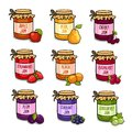 Set of colored jars with delicious homemade jam.