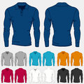 Set of colored long sleeve polo-shirts templates for men Royalty Free Stock Photo