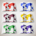 Set of colored maps of the world vector illustration eps Royalty Free Stock Photos