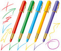 Set of colored pens Royalty Free Stock Photography