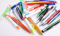 Set of colored pens on table Stock Photo