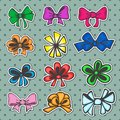 Set of colored ribbons bows for gift in retro style Stock Photography