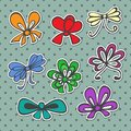 Set of colored ribbons bows for gift in retro style Royalty Free Stock Photo