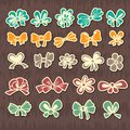Set of colored ribbons bows for gift in retro style Royalty Free Stock Images