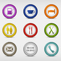 Set of colored round web icons for service vector eps Royalty Free Stock Photo
