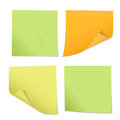 Set of colored stickers on notes of different three colors, isol