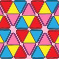 Set of colored triangles geometric background pink