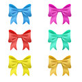 Set of 6 colored vector bows. holiday decorations.