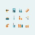 Set of colored vector hairstyling and makeup icons