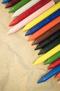 set of colored wax crayons Royalty Free Stock Photo