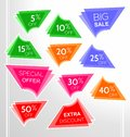 Set of colorful abstract angular sale stickers, labels, tags