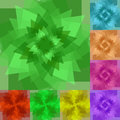 Set of Colorful Abstract Backgrounds. Transparent Polygons Twisted in Vortex Glowing from dark to light. Royalty Free Stock Photo