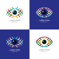 Set of colorful abstract eye logo, sign, emblem design element.