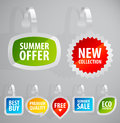 Set of colorful advertising stickers. Royalty Free Stock Images