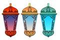 Set of colorful arabic lanterns. Ramadan lantern