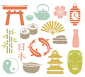 Set colorful asian icons Stock Images