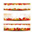 Set of Colorful Autumn Leaves Banner Royalty Free Stock Photo