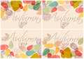 Set of colorful autumn leaves illustration Stock Photos