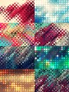 Set colorful backgrounds made of bright dots Royalty Free Stock Photo